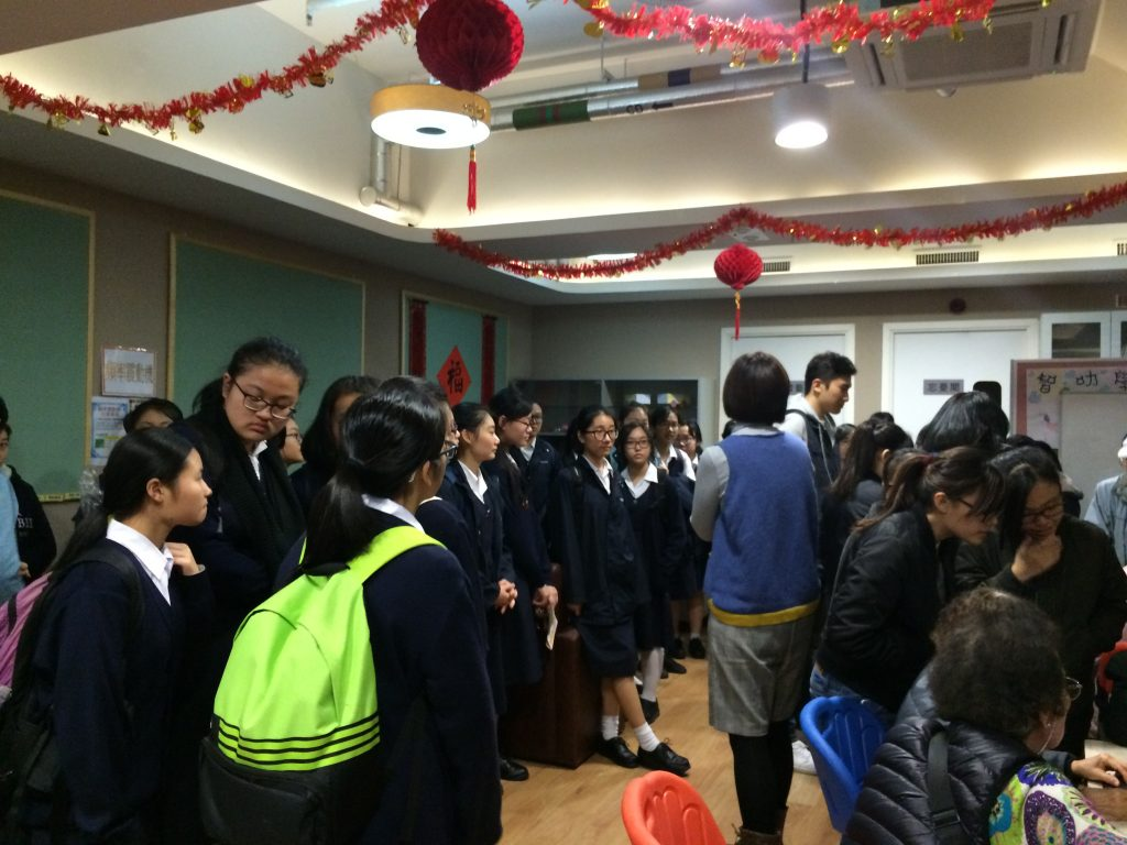 Students of Tack Ching Girls' Secondary School and SKH Holy Carpenter Secondary School visited SKH Holy Carpenter Church District Elderly Community Centre (Hung Hom) for the first time to have an idea of the centre (the venue) ad the older adults (potential participants) there.