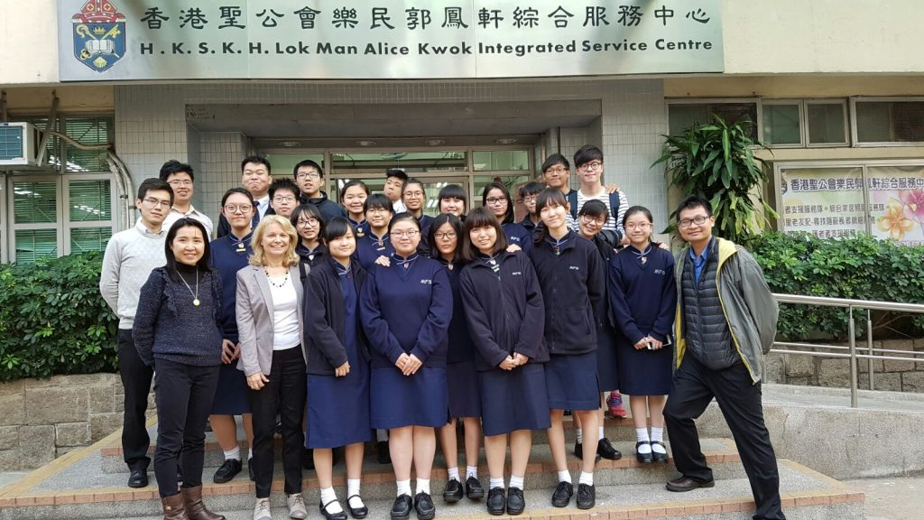 Students of Maryknoll Fathers' School visited HKSKH Lok Man Alice Kwok Integrated Service Centre (To Kwa Wan) for the first time to have an idea of the centre (the venue) and the older adults there (potential participants).